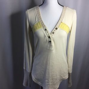 FREE PEOPLE Sweater/Shirt Ivory/Yellow V-Neck Sz L